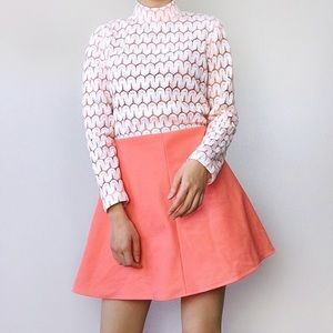 1970s union made peachy coral dress